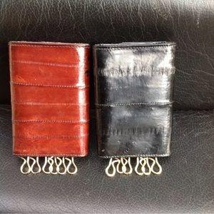 Set of 2 genuine eelskin key holders